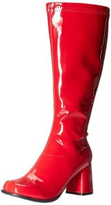 Image of a red vinyl knee-high boot for the Catra costume