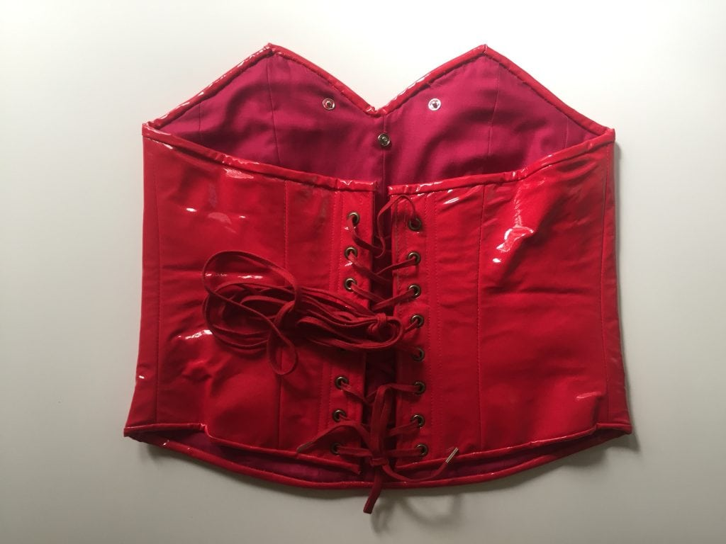 Back detail, red and orange corset created based on Catra's outfit
