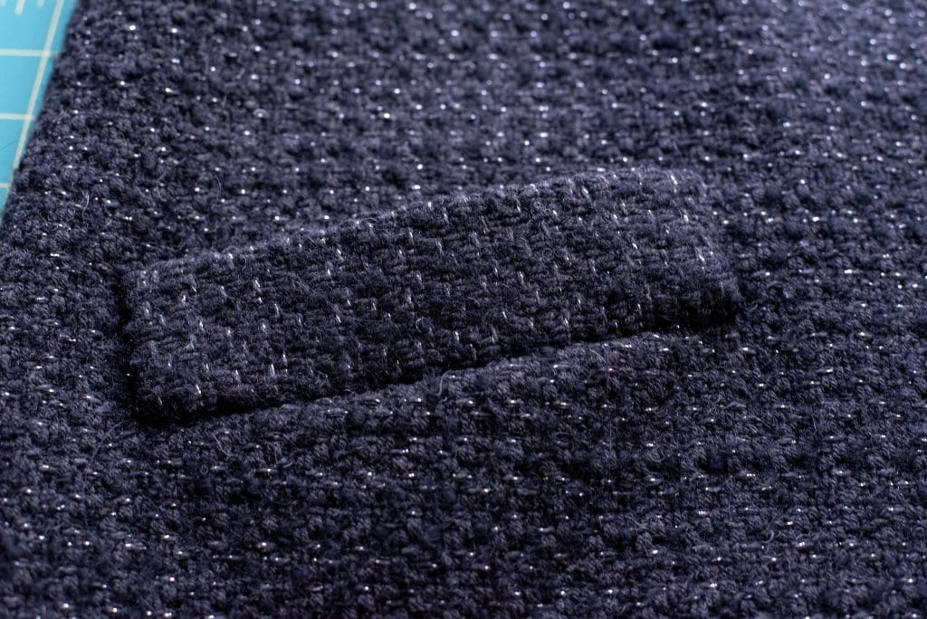 Close-up of the welt pocket