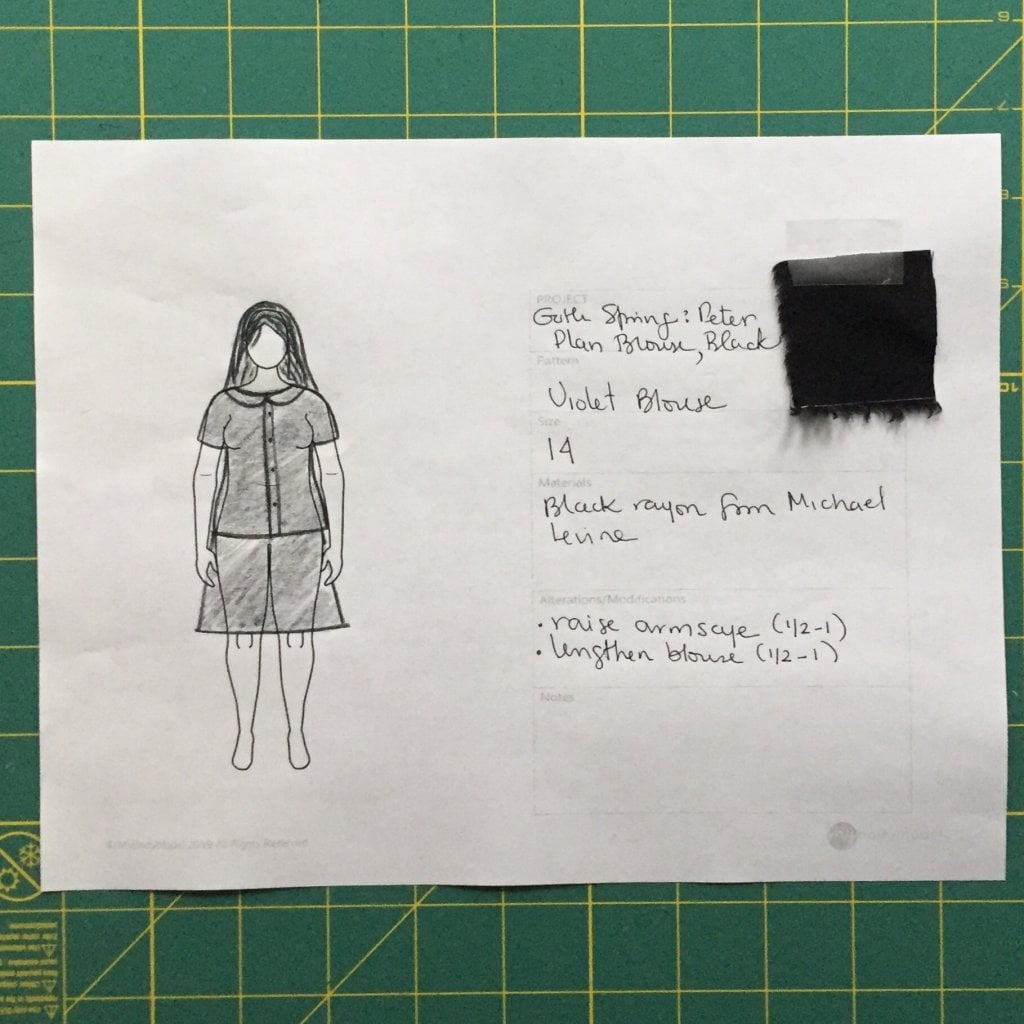 Image of a page with the drawing of the shirt with details about constrution and a swatch of black fabric