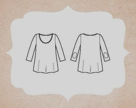 Image of the line drawing of the Plantain T-shirt pattern