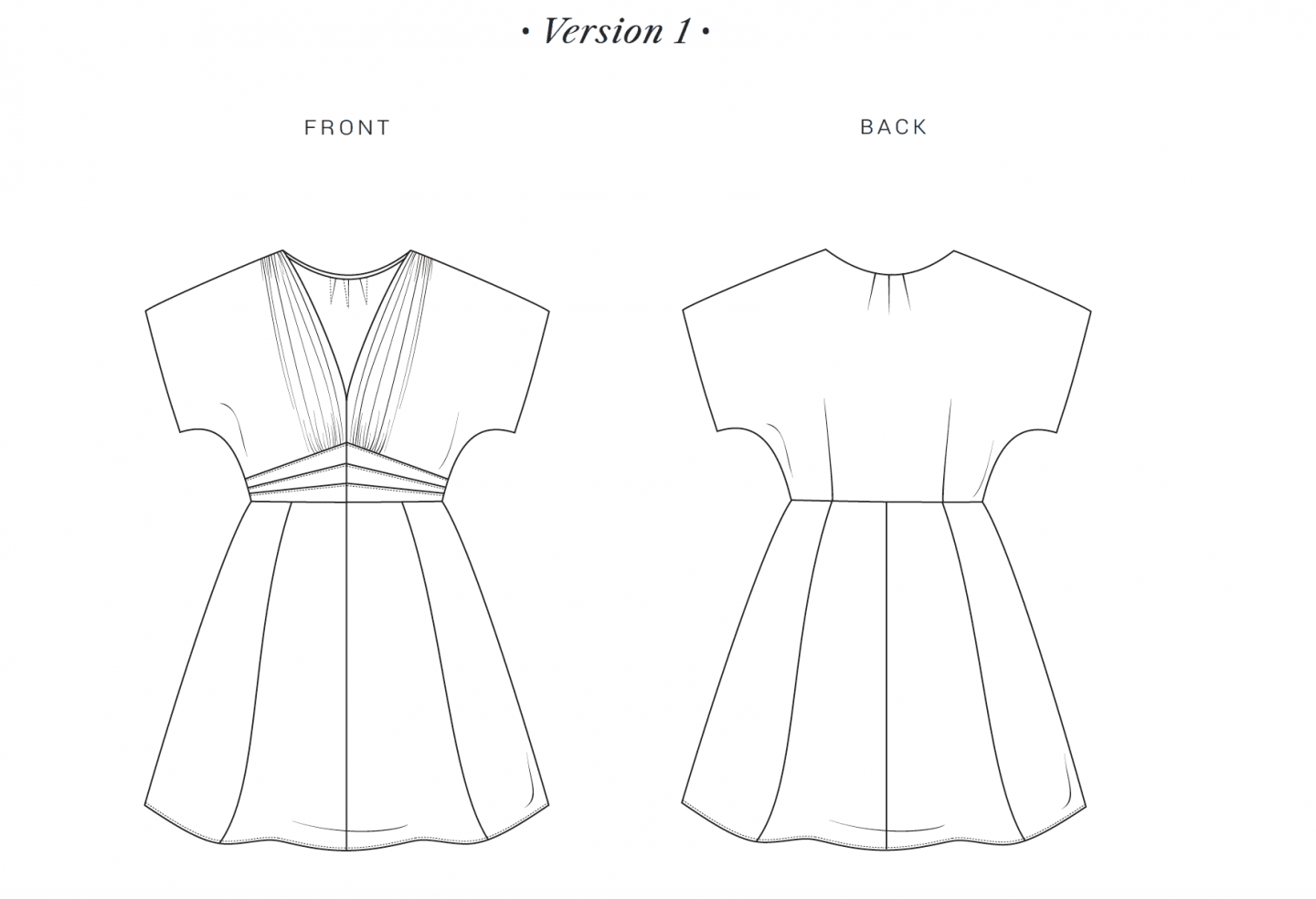 Image of line drawing for the Myrna dress, version 1, a shorter version