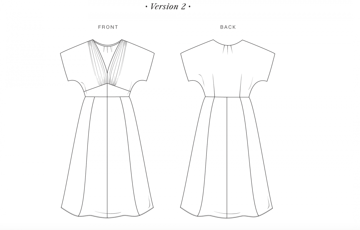 Image of line drawing for the Myrna dress, version 2, a longer version