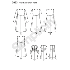 Image of the line drawing for Simplicity 3833, a shift dress