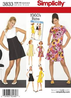 Image of the front package of Simplicity 3833, a shift dress