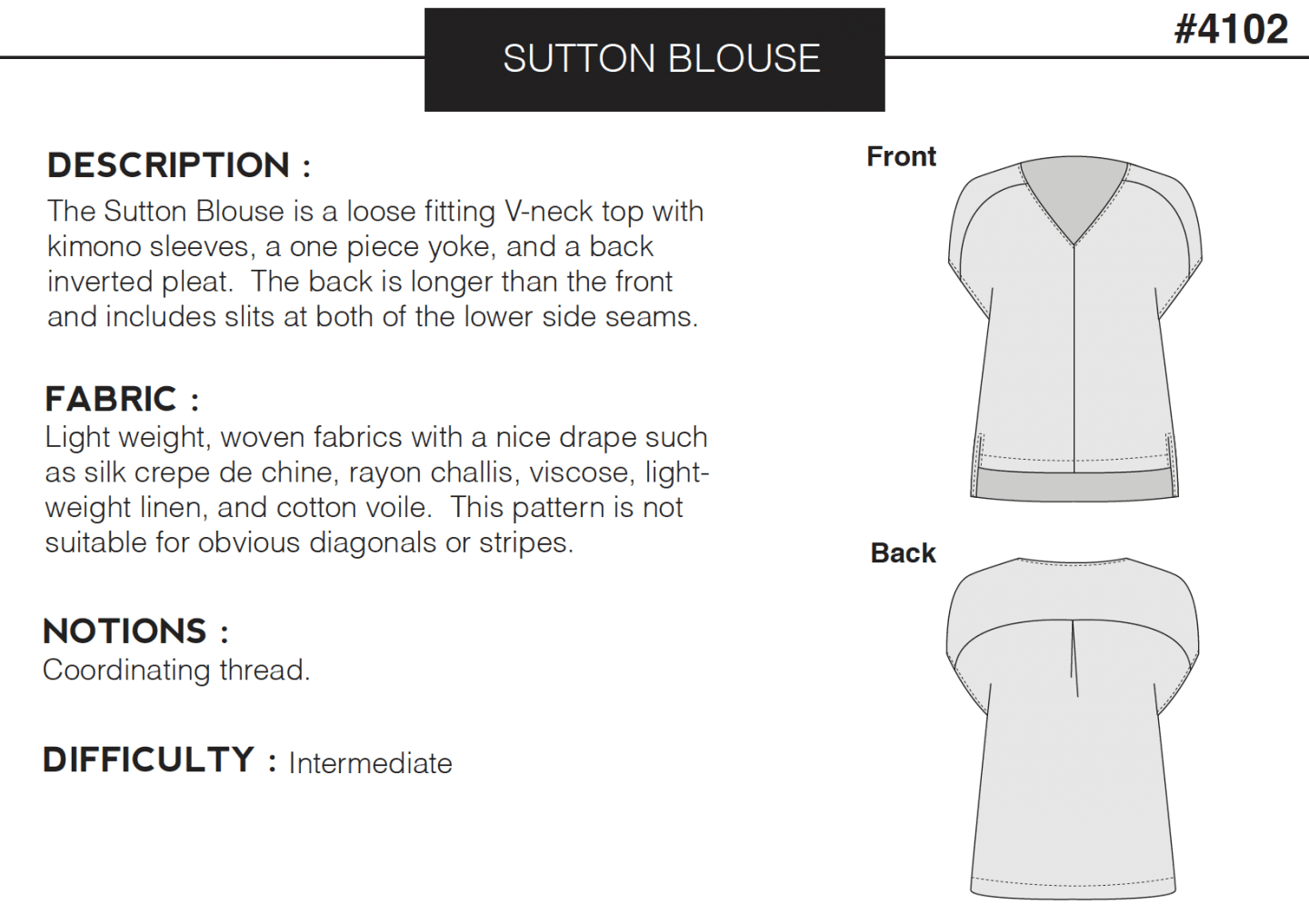Image of the front and back line drawing of the Sutton Blouse