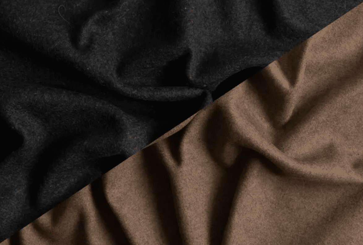 Image of reversible black and beige wool knit from Mood