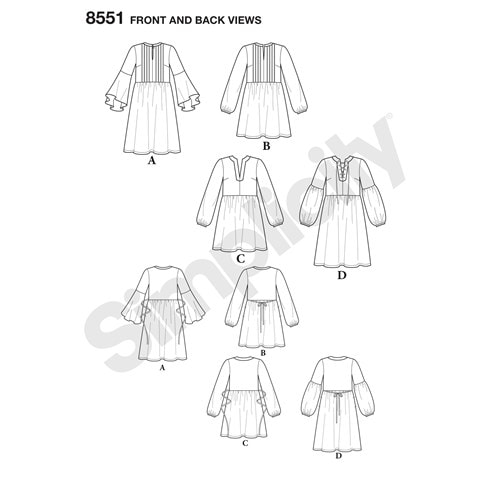 Image of line drawing for Simplicity 8551 tunic and dress