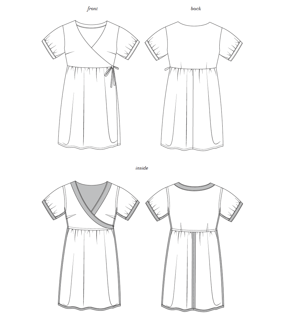 Image of line drawing of isnide and outside view the Seamwork Reggie wrap dress.