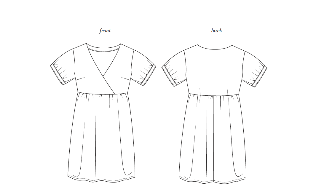 Image of fauxwrap Reggie dress line drawing.