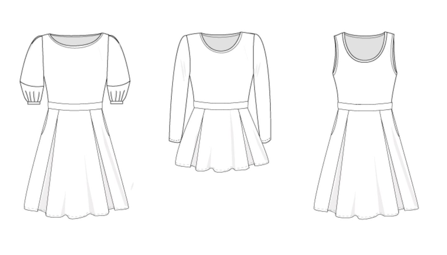 Line drawing of three variations of the Valley skater dress: the first has a boat neck neckline, lantern sleeves, and below the knee skirt with pockets; the second is a peplum top with a crew neck neckline with long sleeves and a miniskirt; the third one is sleeveless with a scoop neckline and below the knee skirt with pockets.