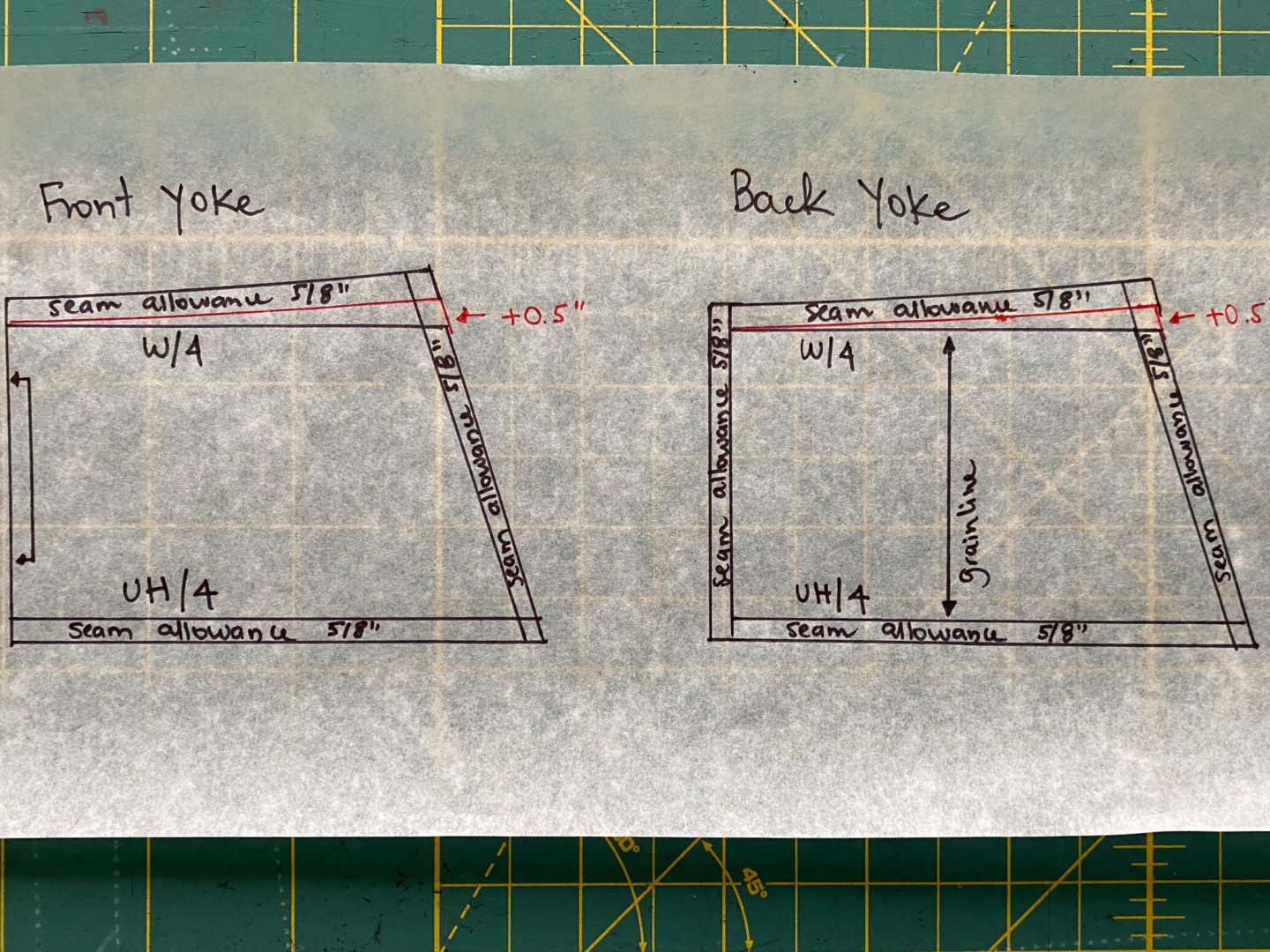 Image of front and back yoke pattern pieces