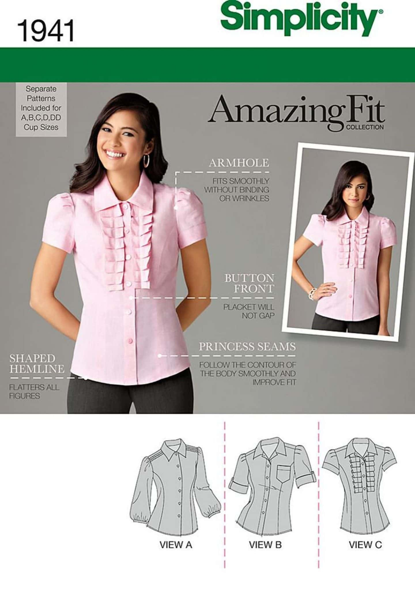 Image of Simplicity 1941 Amazing Fit blouse with a woman standing smiling to the camera wearing a pink buttoned up blouse with placket pleats and drawings of the three versions of the finished blouse