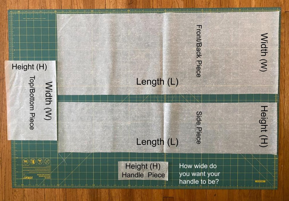 Image of all four pattern pieces for the yoga bolster.