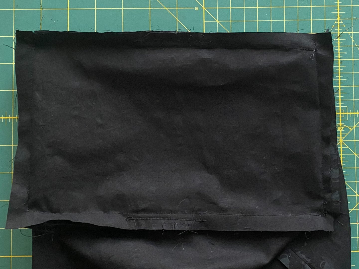 Image of the end piece sewn to the body piece