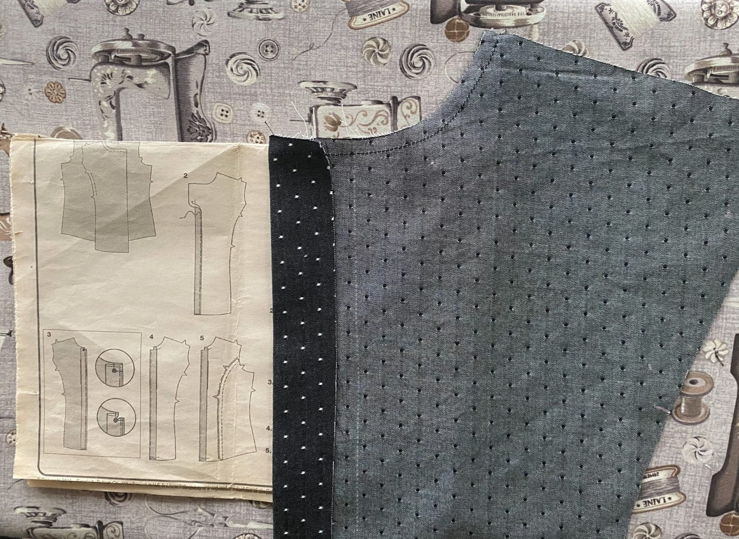 Image of Simplicity 1941 front pattern piece wrong side up with the first step for the button placket, a fold using the first marking with the fabric folding to inside