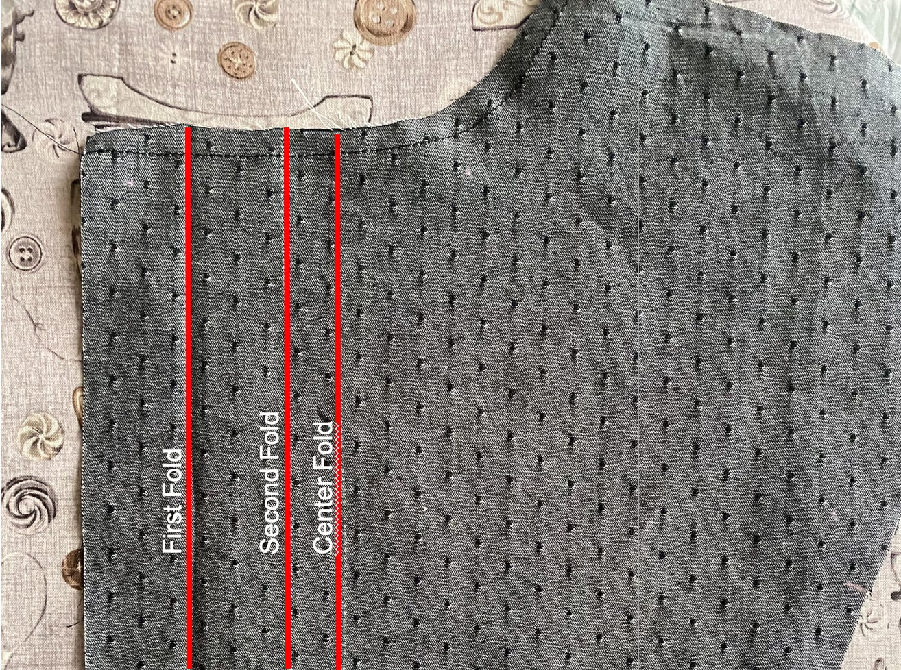 Image of Simplicity 1941 front pattern piece with markings digitally highlighted
