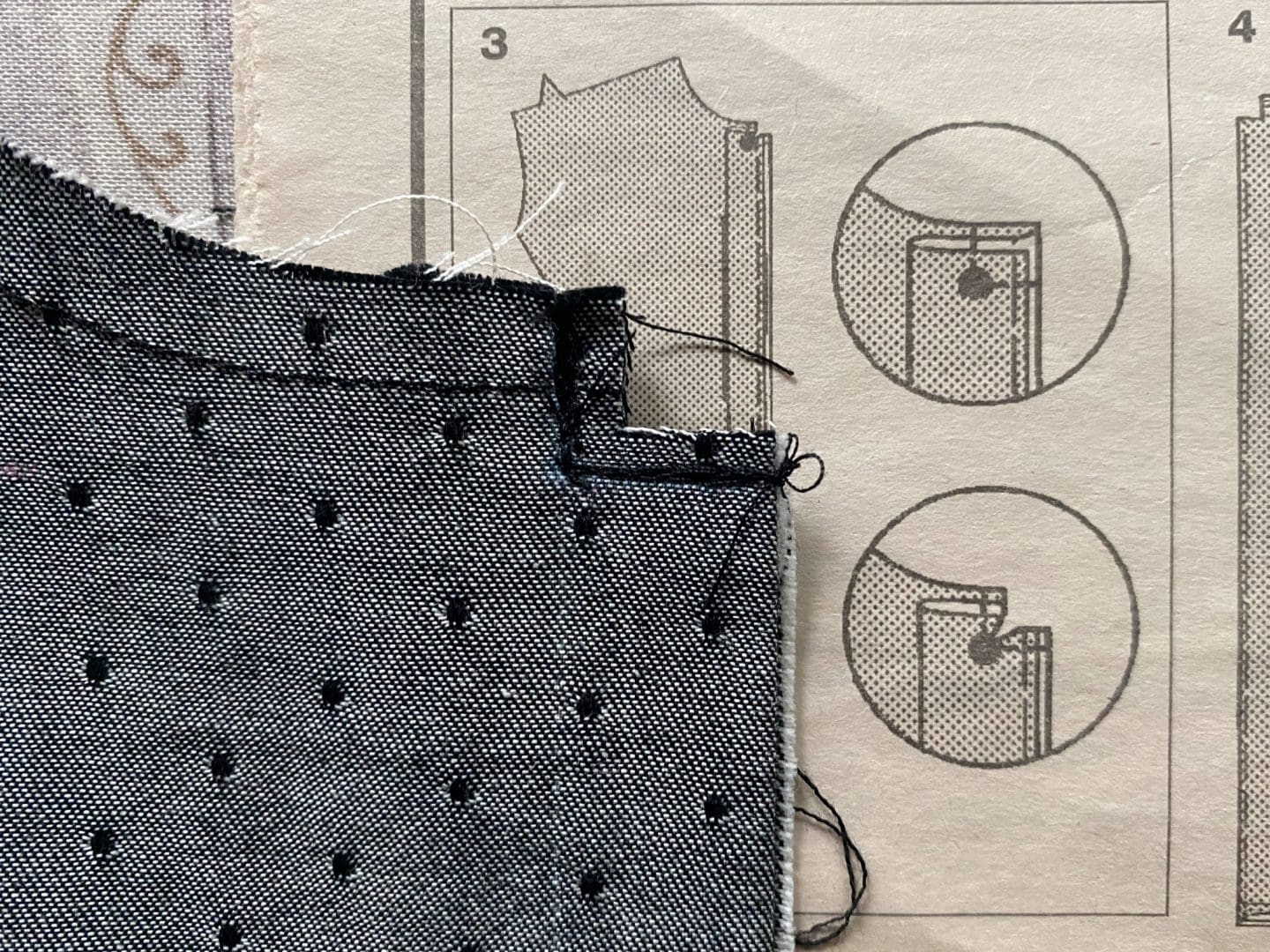 Image of Simplicity 1941 front pattern piece wrong side up showing where to clip into the placket to create the top of the placket