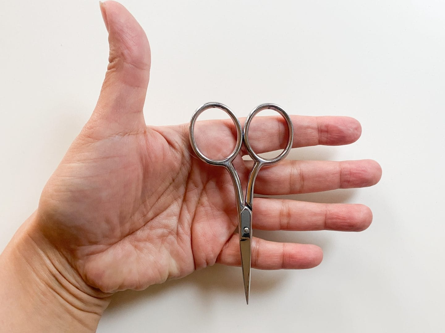 Image of a hand, palm up and open, where a pair of small embroidery scissors rests