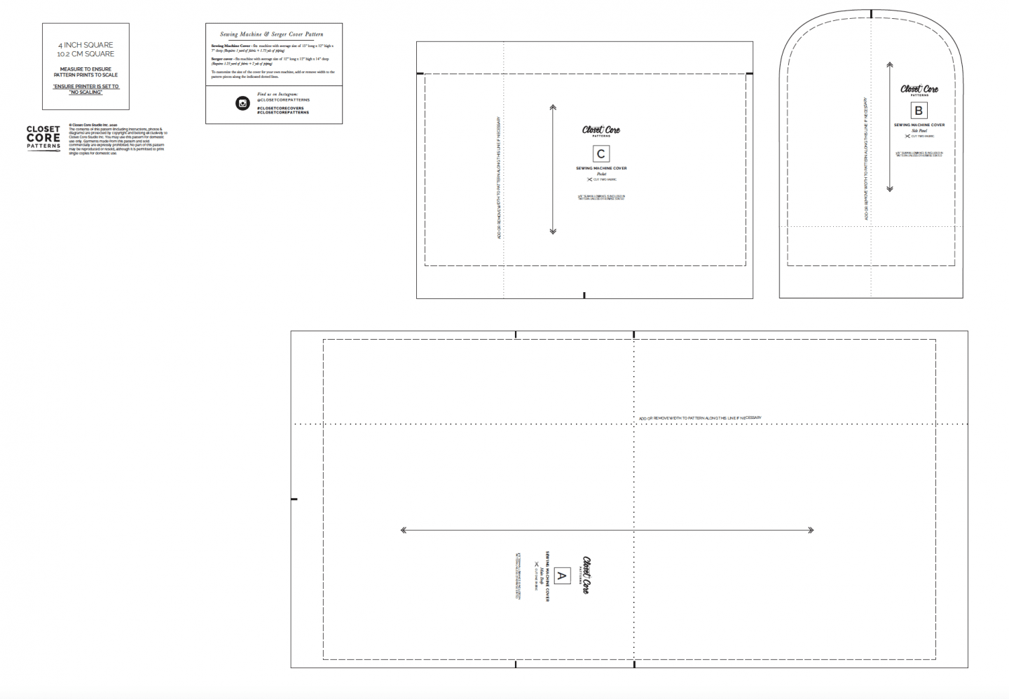 Image of the copyshop version of the sewing/serger cover pattern
