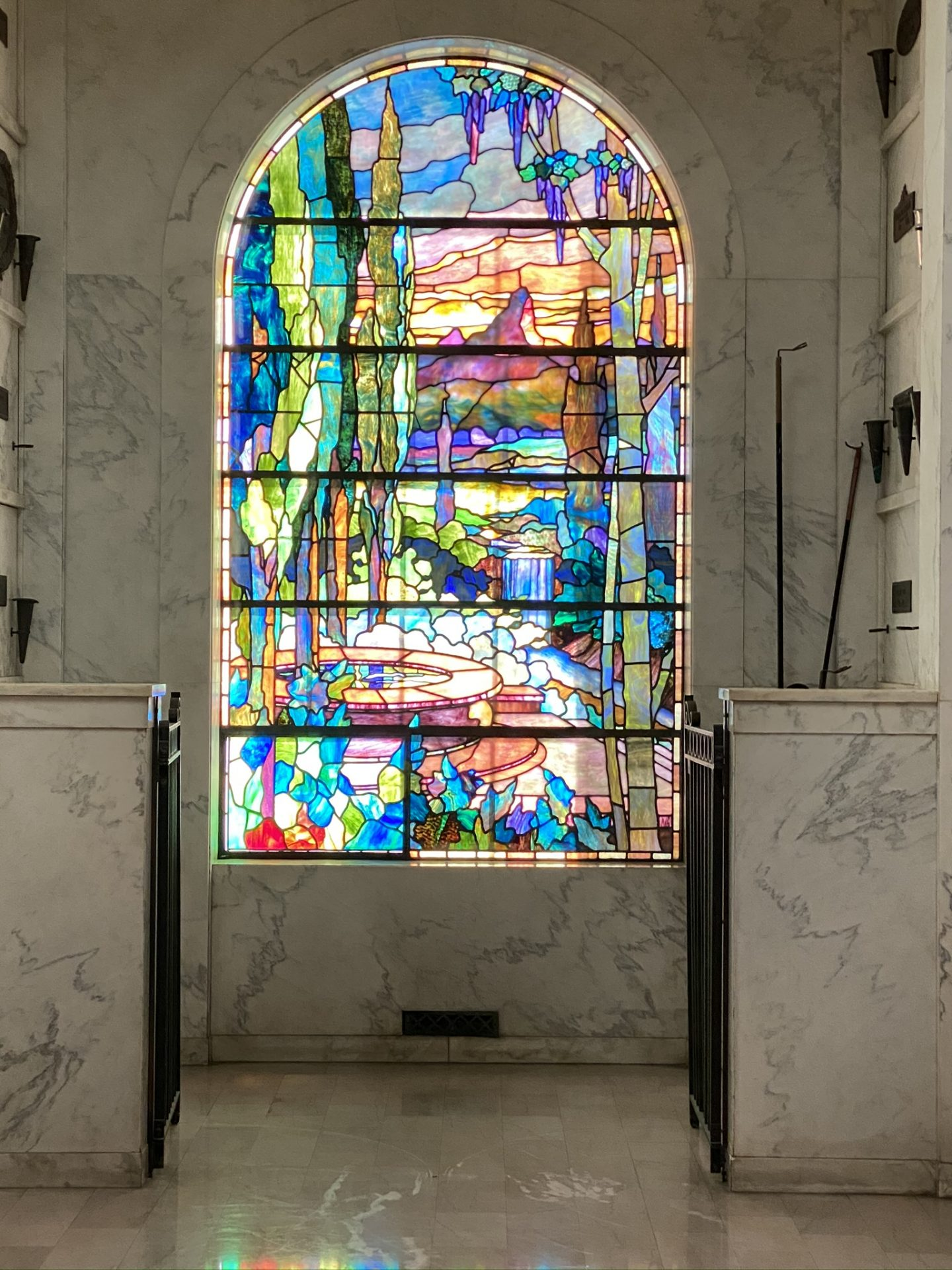 Image of colorful stained glass at one of the Hollywood Forever Cemeteries Mauseleums