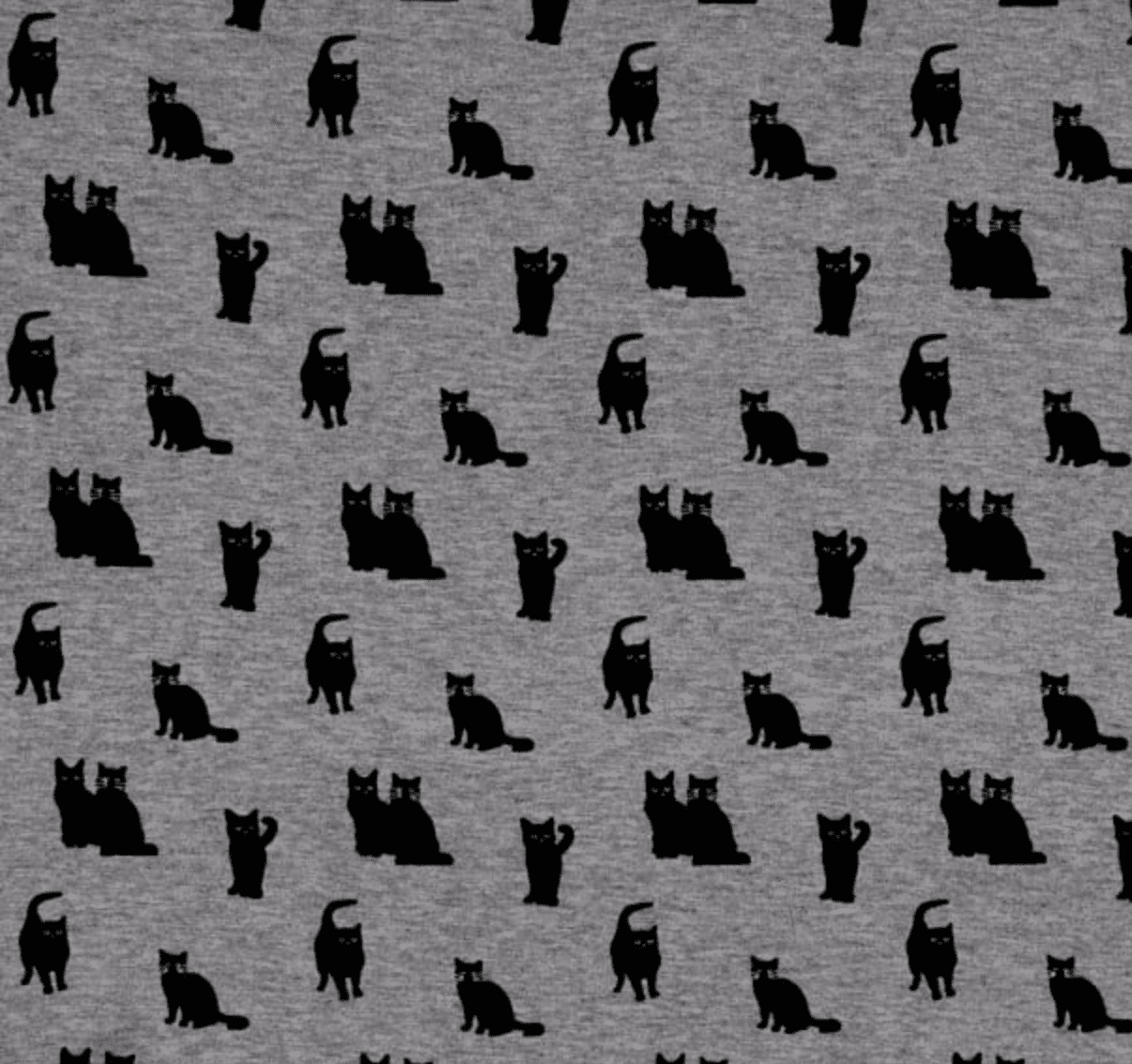 Detail of gray rayon fabric with black cat print