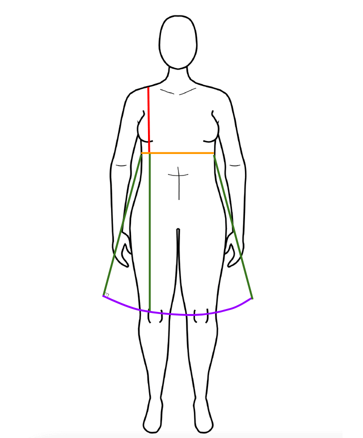 Image of a body model with different colored lines indicating the most important measurements for the empire waist dress.