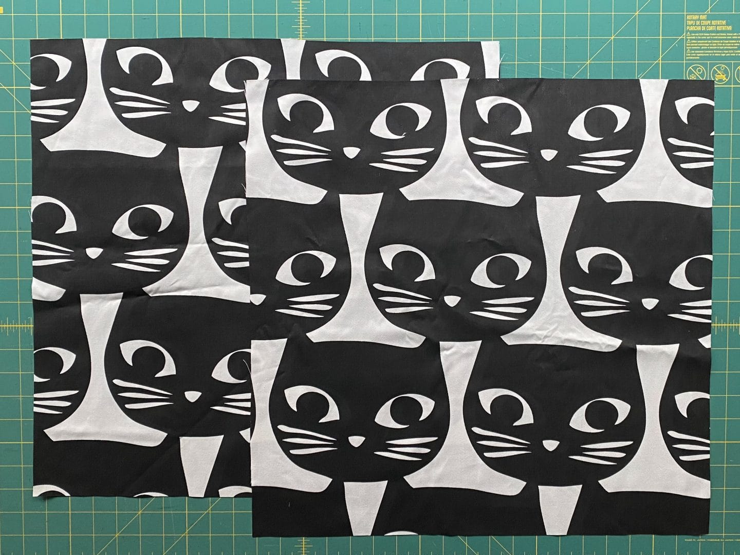 Image of two squares of canvas fabric with black cat print